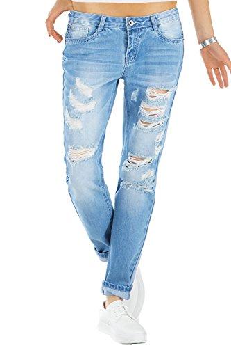bestyledberlin Relaxed Fit Damen Jeans, Baggy Jeanshosen, Destroyed Style Boyfriend Jeans j60kw-1 38/M