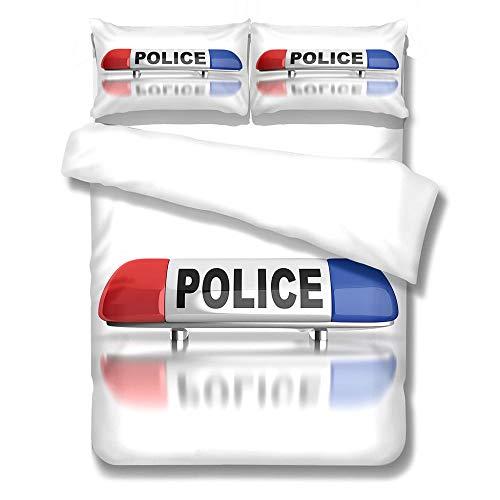 QHDXL Funda Nordica Cama 150cm Policía Juego de Ropa de Cama 1 Microfibra Funda Nórdica y 2 Fundas de Almohada 50x75,Fundas Nórdicas Suave y Transpirable