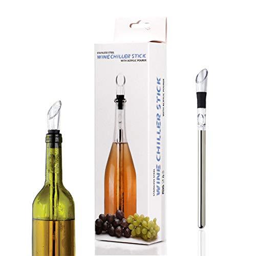 Set de enfriador de vino – 3 en 1 de acero inoxidable para botellas enfriador, aireador decantante y barra de vertedor sin goteo, accesorio de diseño de regalo para hombres y mujeres