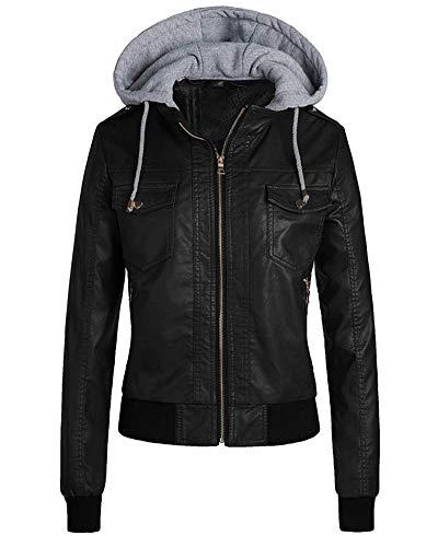 YAOTT Mujer Chaquetas Imitación Cuero Cazadoras de Motorista Entallada con Capucha Desmontable con Cremallera Negro XL