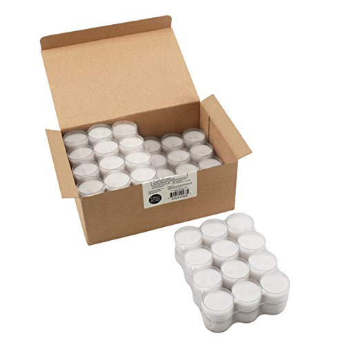 Stonebriar 6-7 Hour Long Burning Unscented Clear Cup Tea Light Candles, 96 Pack, White