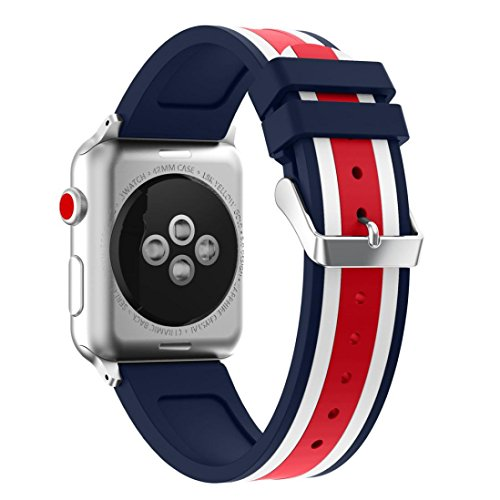 Magiyard Correa para Apple Watch 38mm/42mm, Silicona Adjustable Reemplazo Band Deportiva, Banda para Apple Watch (Azul&Blanco&Rojo, 38mm)