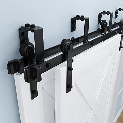 ZEKOO 5FT-16FT Bypass Barn Door Hardware Kit Double Track Low Ceiling Bracket with Metal Hanger for Double Sliding Barn Door (6.6FT Bypass Kit)