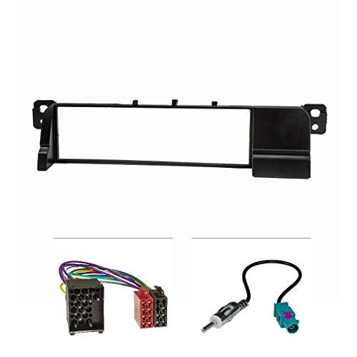 tomzz Audio 2404-010 Radioblende passend für BMW 3er E46 ISO Adapterkabel Alter Rundpin Anschluß, Antennenadapter Fakra DIN