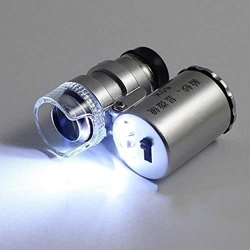 Busirsiz Microscopio portable del bolsillo 60X Mini lupa del microscopio del joyero lupas de cristal lente luz LED (Magnification : 60X)