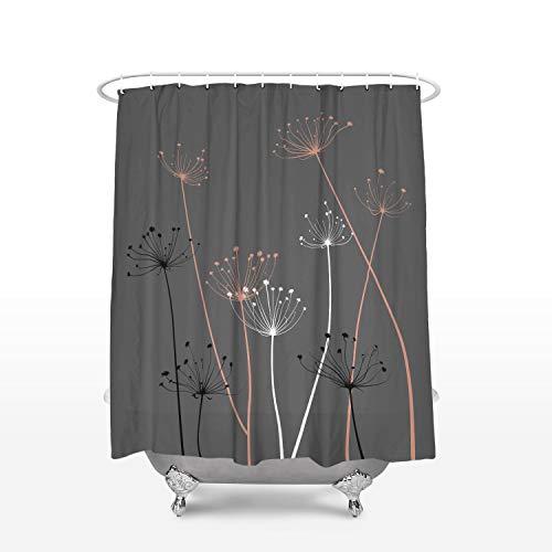 Cloud Dream Home Duschvorhang, graue & korallenfarbene Distel, Wasser- & schimmelresistent, Polyester Stall Size 36x72 Inch Plant-006