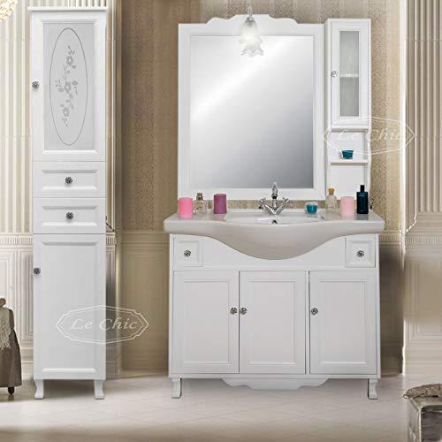 arredo Bagno Mobile con lavabo Specchio e Colonna salvaspazio Shabby Chic in Vero Legno Bianco provenzale
