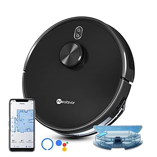Robot Aspirapolvere lavapavimenti NeatsvorX600, con serbatoio dell'acqua elettrico; navigazione laser, 4000pa. Aspira, spazza,strofina , per pavimenti duri e animali domestici, app, Alexa Google Home