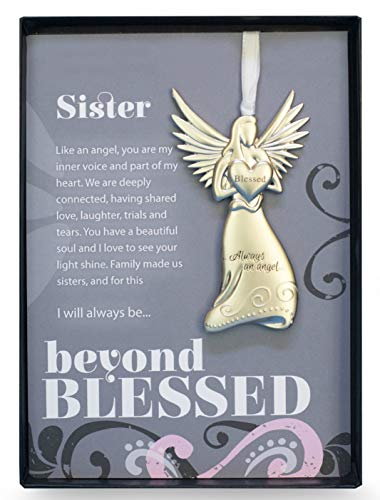 Beautiful Silver Finish Metal Angel with Sentimental Beyond Blessed Poem for Sister