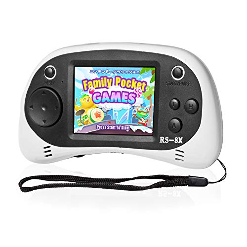 Kids Portable Handheld Game Console - RS-8X [Upgrade] 16 Bit HD Game Player Built-in 42 Games with 2.5 Inch LCD Screen Handheld Rechargeable Gaming System Best Gifts for Children & Family(White)