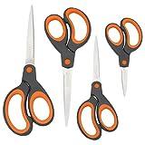 Rapesco - Set di 4 forbici con impugnatura morbida, colore: Arancione
