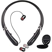 Bluetooth Headphones, Bluenin Bluetooth 5.0 Neckband Retractable Earbuds Lightweight Sports Bluetooth Headset with Carrying Bag Noise Cancelling Stereo Earphones with Mic