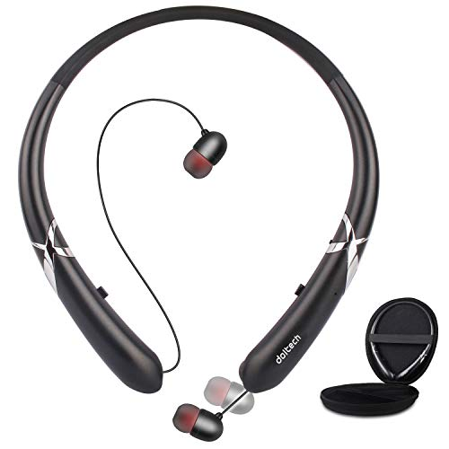 Bluetooth Headphones, Doltech Bluetooth 5.0 Neckband Headphones Noise Cancelling Headset with Carrying Bag Retractable Earbuds Stereo Earphones with Mic (Black)