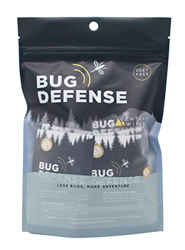 Bug Defense: Natural Insect Repellent Wipes - Infused with Essential Oils Like citronella, Menthol & Lemon Eucalyptus. DEET-Free, no picaridin. Mosquito Repellent for Kids and Family - 15 Count Bag
