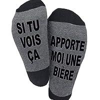 【FUNNY SOCKS AVEC DESIGNE INTERESANT】 Chaque paire de chaussettes droles a ecrire des phrases funny, comme SI TU VOIS ÇA APPORTE MOI UNE BIÈRE, SI TU VOIS ÇA APPORTE MOI UN WIHSKY, SI TU VOIS ÇA FAIS MOI À MANGER. Cettes chaussettes noires sont très ...