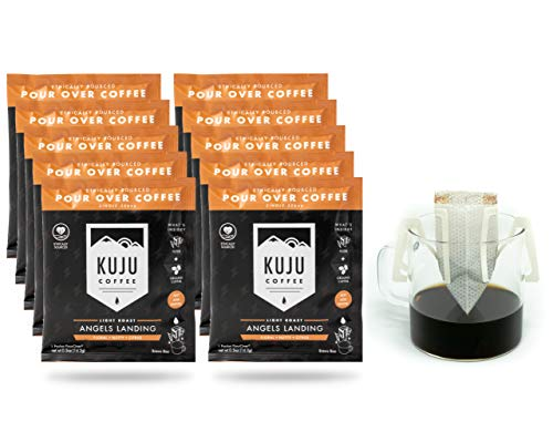 Kuju Coffee Premium Single-Serve Pour Over Coffee | Ethically Sourced, Specialty Grade, Eco-Friendly | Angels Landing, Light Roast, 10-pack