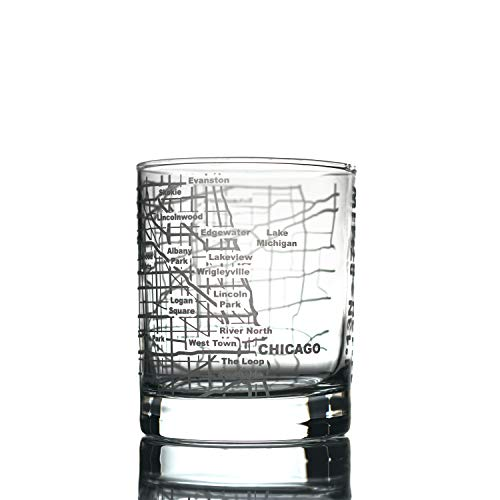 Greenline Goods Whiskey Glasses - 10 Oz Tumbler for Chicago Lovers (Single Glass) | Etched with Chicago Map | Old Fashioned Rocks Glass