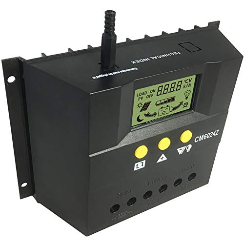 Douup 60A PWM Solar Controlador De Carga De 12V/24V, Batería del Controlador De Panel Solar Resistente A La Intemperie con Sensor De Temperatura, Pantalla LCD En Forma De Pequeños del Sistema