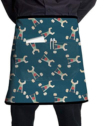 Delantal de cintura de tubo de levantamiento de pesas Delantal de servidor con bolsillos Restaurante comercial Camarera Camarero Delantal de cocina impermeable para hombres Mujeres Medio delantal