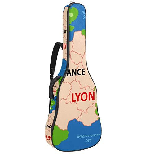 Bolsa para guitarra impermeable con cremallera suave para guitarra, bajo, acústico y clásica, bolsa para guitarra eléctrica, diseño de mapa de Lyon
