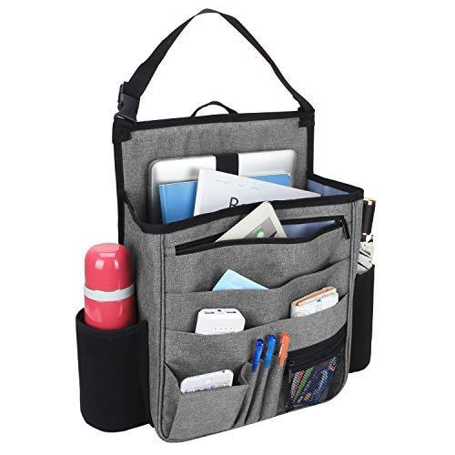 Luxja Car Seat Storage Organiser, Car Seat Organiser Front, Car Seat Back Storage Bag with Laptop & Tablet Storage, Grey