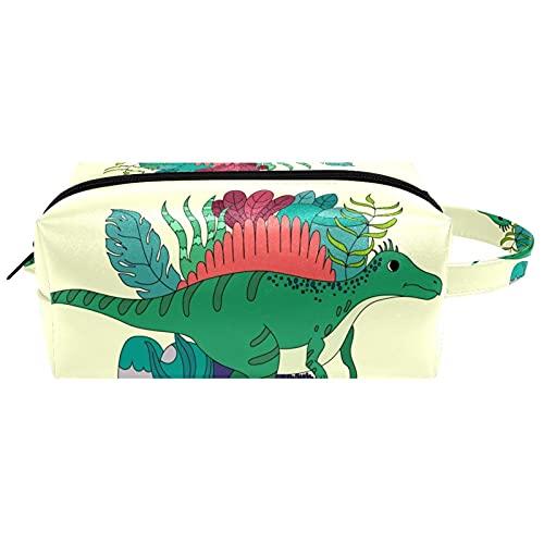 Bolsa de cosméticos con forma de abanico de dinosaurios para viajes, bolsa de cosméticos para mujer, piel de microfibra y maquillaje, práctico organizador con cremallera