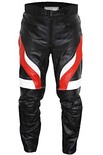 German Wear, Motorradhose Motorrad Biker Racing Lederhose Schwarz/Rot, Größe:54