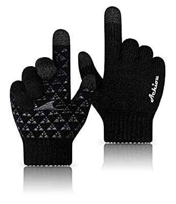 Achiou Winter Knit Gloves Thicken Warm Touchscreen Thermal Soft Lining Texting Generation ? Upgraded