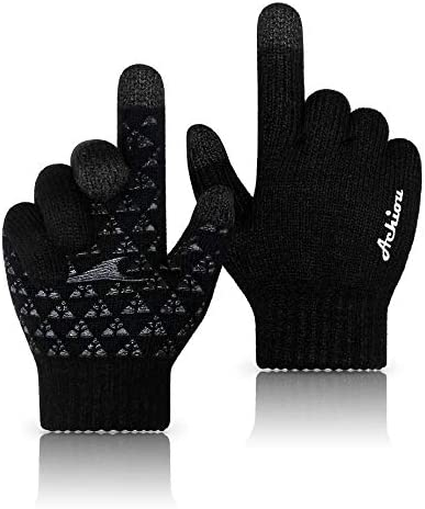 Achiou Winter Knit Gloves Thicken Warm Touchscreen Thermal Soft Lining Texting Generation Upgraded product image