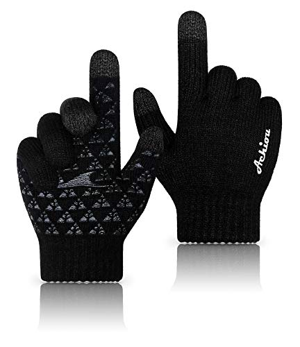Achiou Winter Knit Gloves Thicken Warm Touchscreen Thermal Soft Lining Texting Generation Ⅱ Upgraded