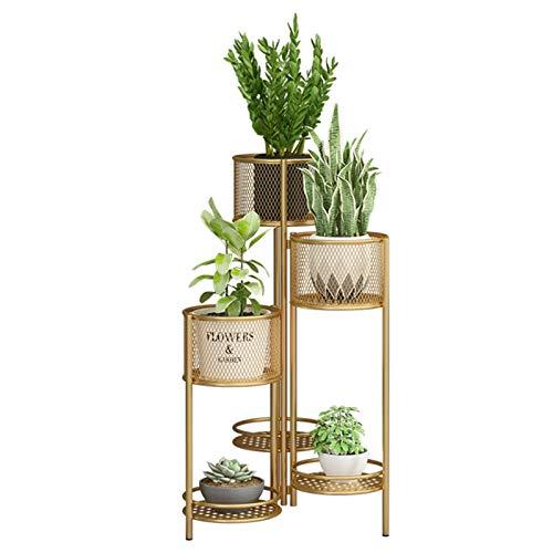 Estante de exhibición de flores Mátil de múltiples macetas Soporte plegable, Oro 6-niveles Soporte de flores para sala de estar esquina, patio jardín, balcón y interior al aire libre para Patio Jardín