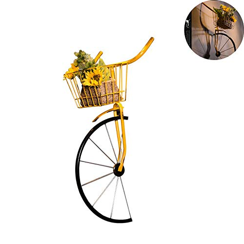 JIASHU Front Basket Bicycle Wall Decor, Iron Antique Style, Storage Magazine Rack/Flower Pot Holder, for decoration of Homes bars and cafes