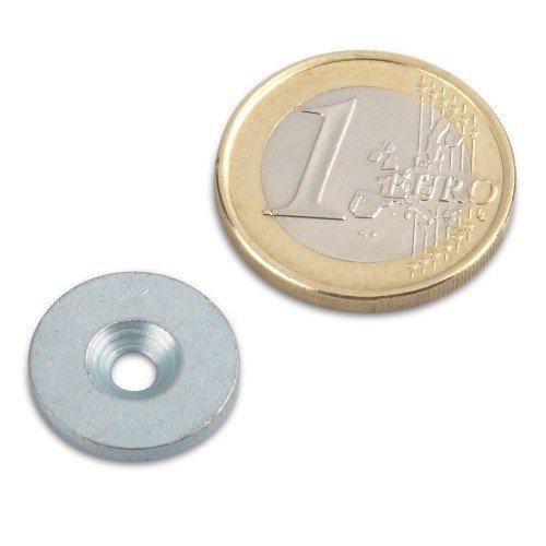 Metallscheibe Ø 16 mit Loch und Senkung Zink Haftgrund für Magnete