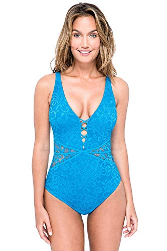 Profile by Gottex Women's Thick Strap V-Neck Cup Sized One Piece Swimsuit, Shalimar Peacock, 14D