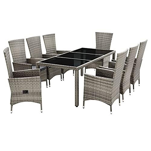 ArtLife Polyrattan Sitzgruppe Rimini Plus 9-teilig & wetterfest – Gartenmöbel Set mit Tisch & 8 Stühle - Essgruppe für 8 Personen - beige mit grau