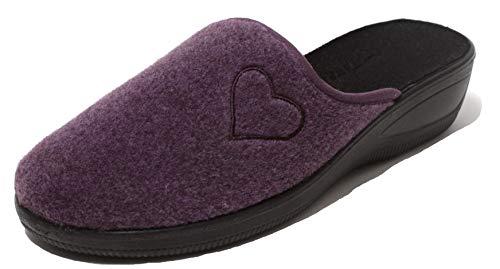 Zapato Damen Filzclogs Hausschuhe Pantolette Slipper Clogs Wörishofer Keilabsatz Sohle Gr. 40 lila mit Herz Applikation (40 EU)