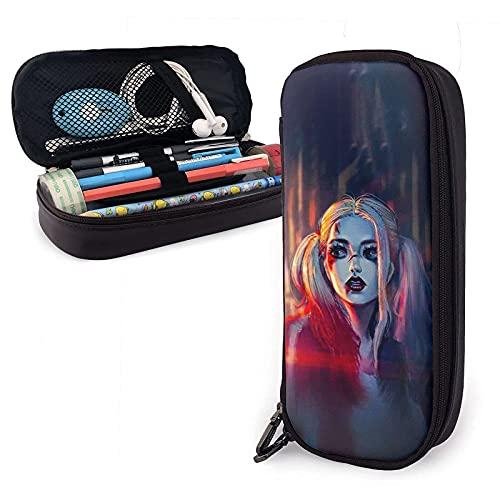 Harley Quinn - Estuche de piel para lápices y artículos de papelería para oficina y almacenamiento portátil