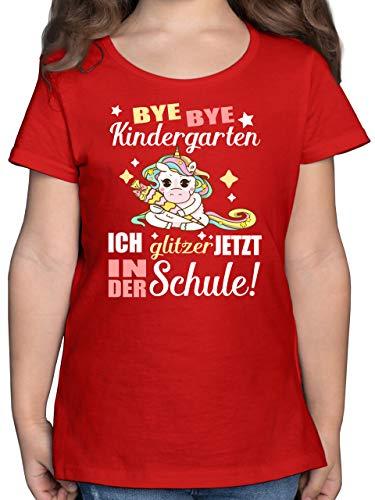 Einschulung und Schulanfang - Ich Glitzer jetzt in der Schule Einhorn mit Schultüte - 152 (12/13 Jahre) - Rot - Kinder Shirts Glitzer - F131K - Mädchen Kinder T-Shirt
