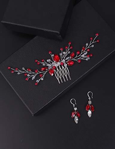 BERYUAN Juego de pendientes de cristal rojo con cuentas de ópalo para mujer, accesorio para el pelo, accesorio para el pelo, pieza de regalo para su fiesta para novia, dama de honor y niñas