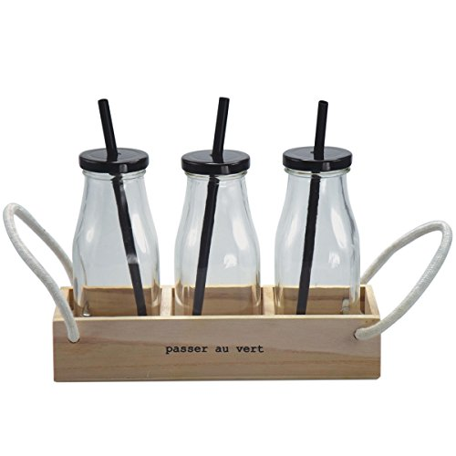 Incidence Paris 54526 Set 3 Bouteilles + Pailles + Plateau, Transparent/Bois