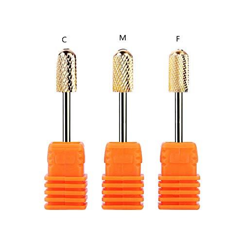 YouU 3 piezas Brocas de manicura profesional Broca Cónica de Carburo de Tungsteno Prémium Para Manicura Pedicura y Callosidades-Oro