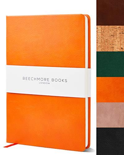 Bullet Notebook | Gepunktetes Notizbuch | Tagebuch A5 von Beechmore Books | Festeinband Veganes Leder, Dickes Papier 160 g/m², Journal in Geschenkschachtel, 21x15cm (Orange)