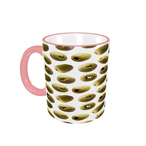 Taza de café Tazas de café con Aceitunas Verdes Divertidas y Divertidas Tazas de cerámica con Asas para Bebidas Calientes - Cappuccino, Latte, Tea, Cocoa, Coffee Gifts 12 oz Yellow