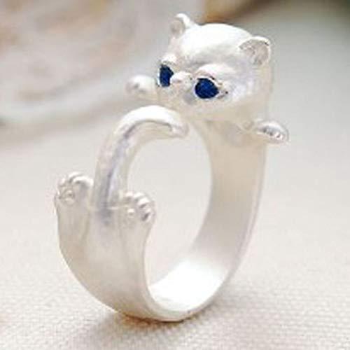 LYLLXL Offene Ringe Für Damen,Vintage Einstellbare Öffnen Handgemachte Original Silver Charm Wicklung Katze Weihnachten Geschenk Schmuck Für Frauen Männer Paare