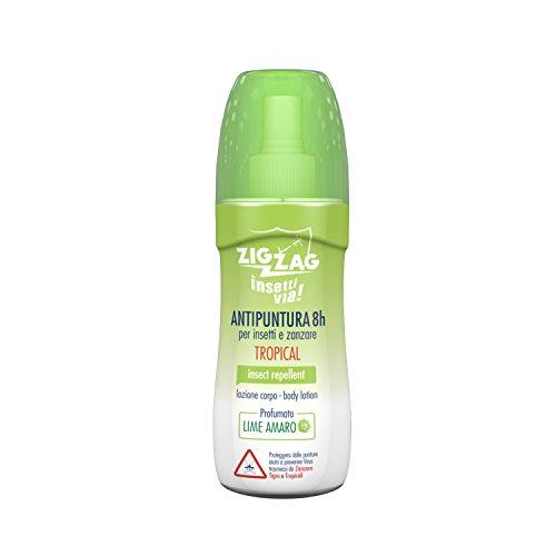 Zig Zag, Repellente, Insetti, Lozione Corpo Insettivia Tropical, No Gas, al profumo di Lime Amaro, 100 ml