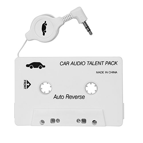 OBEST Cassette Tape Adaptador para Coche para iPod, iPad, iPhone, MP3, MP4 Dispositivos Móviles 3.5 mm Jack 70 cm Cable Retráctil, Blanco