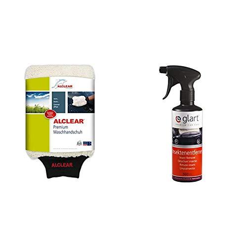 ALCLEAR Mikrofaser Handschuh zum Auto waschen mit Shampoo: besser als ein Auto Wasch Schwamm, Poliertuch oder Microfasertuch; für Kfz, Motorrad + Glart 45IE Insektenentferner 500 ml