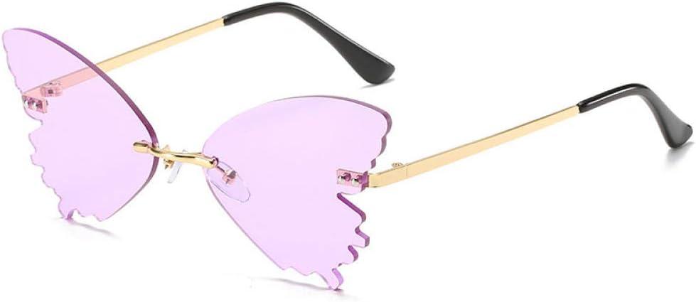 LONG Lunettes de Soleil sans Monture Forme Papillon Hommes Femmes Mode Nuances UV400 Lunettes Vintage Lunettes de Soleil de Plage Lunettes de Conduite violet