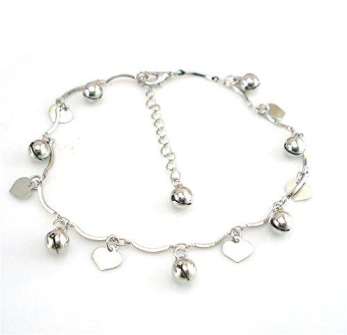 Boowhol Unisex Verstellbar Fußkettchen Fußkette Armbänder Armkette mit Anhänger Herz Glocke aus 925 Sterling Silber (Fußkette)