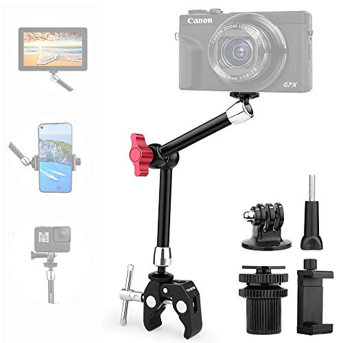11' Adjustable Robust Articulating Friction Magic Arm Clamp Holder Mounts Kit for DSLR/Mirrorless/Action Camera/Camcorder/LCD Monitor Video Vlog Rig w/Smartphone/iPhone/GoPro/Arlo etc